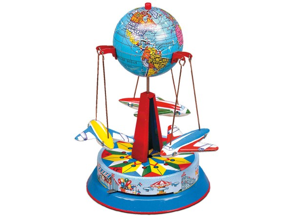Roundabout with globe and air planes